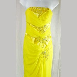 Kiss Kiss Yellow Formal Dress Beaded A-Line Prom